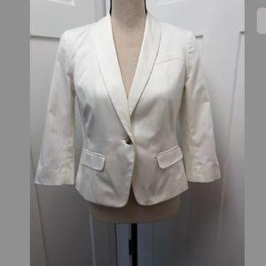 Ann Taylor Petites Blazer 3/4 Sleeves White Size 4